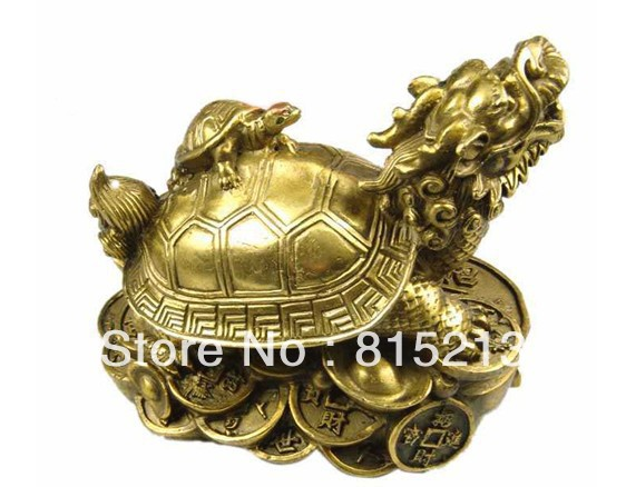 Free Shipping  Lucky Chinese Handwork Bronze Fengshui Dragon Turtle Statue