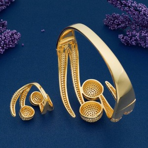 Image 5 - ModemAngel Luxury Big Ball Full Mirco Pave Cubic Zircon Gold Color Women Brand Bijoux Fashion Bangle Ring Sets Party