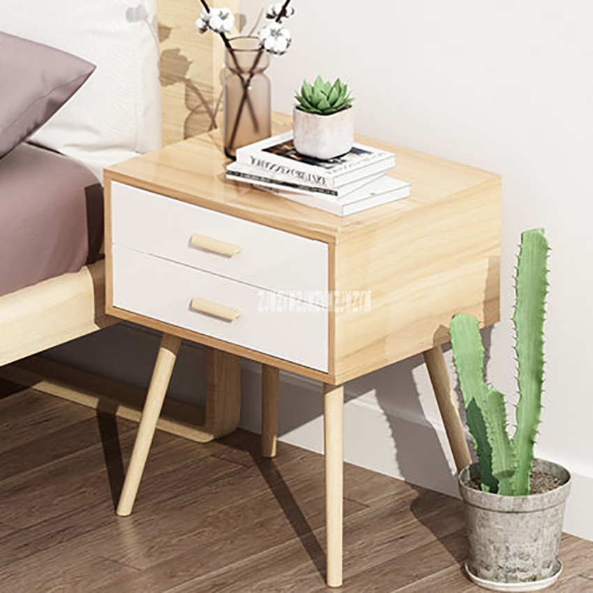 077 Night Table Modern Simple Bedstand 2-Drawer Small Bedside Cabinet Mini Bedroom Storage Tea Coffee Table Nightstand Beech Leg