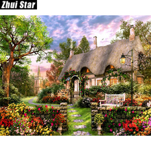 "Full Square Diamond 5D DIY Diamond Painting ""Cottage & Garden"" Embroidery Cross Stitch Rhinestone Mosaic Painting Decor Gift(China)"