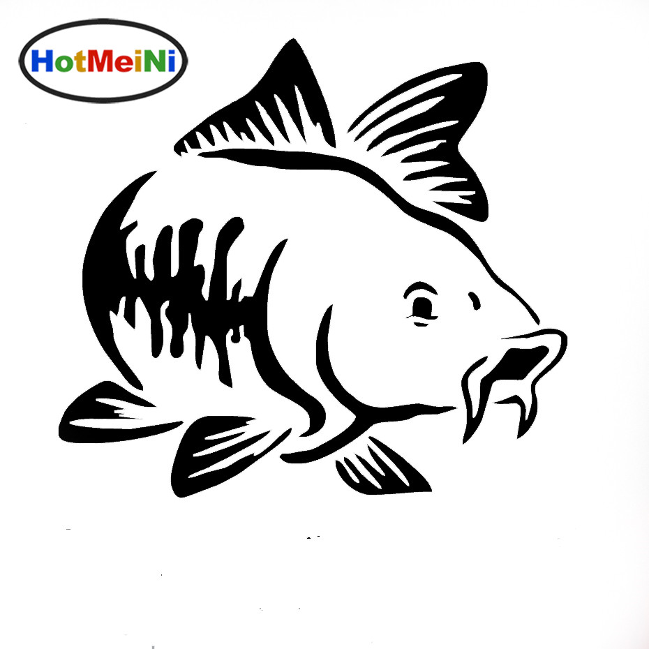 HotMeiNi 15 * 15 CM Hot Sale Carp Fishing Car ვინილის Decal Art Sticker Kayak Fishing Car Truck Boat Tribal Tribal Car Sticker Accessories