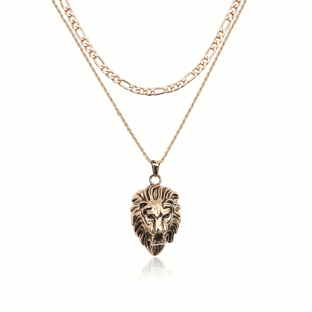 Fashion Rock Animal Stainless Steel Lion Head Gold Sliver Black Color Chain Necklaces Pendant For Men Fashion Jewelry Wholesale in Chain Necklaces from Jewelry Accessories
