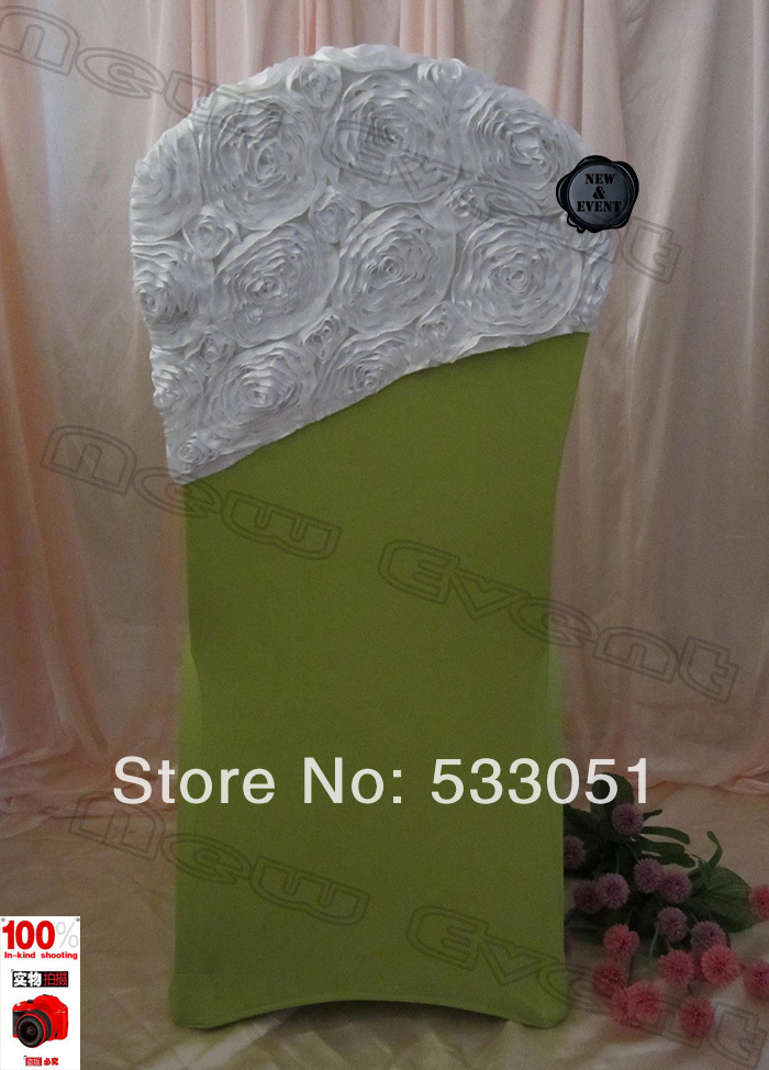 210g m2 olive green spandex chair cover with white rose for Decoration cost per m2