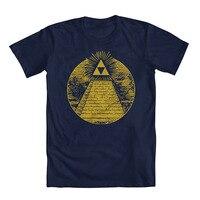 T Shirt Quotes Crew Neck Zelda Triforce Illuminati Pyramid Men's T-Shirt Short-Sleeve Office Mens Tee