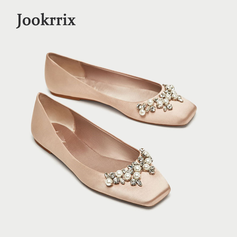 Jookrrix 2018 New Spring Fashion Shoes Women Square Toe Rhinestone Chic Ballet Flats Silk Pearl Soft Nude Elegant Shallow 2016 spring and summer free shipping red new fashion design shoes african women print rt 3