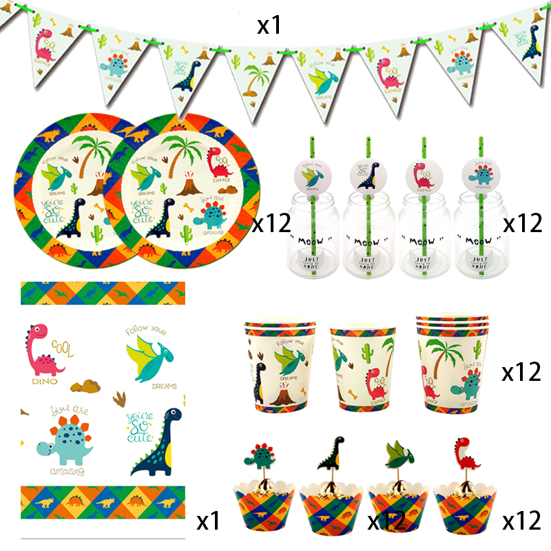 Party supplies 62pcs for 12kids 2019 New Dinosaur theme birthday party decoration tableware set, plate+cup+straw+flag+tablecoverDisposable Party Tableware   -