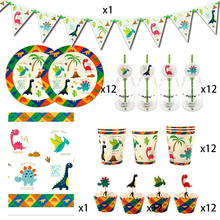 Party supplies 62pcs for 12kids 2019 New Dinosaur theme birthday party decoration tableware set, plate+cup+straw+flag+tablecover
