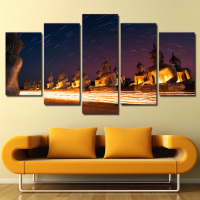 Home Art Canvas Pictures Decoration Prints Poster 5 Panel Stone Buddhas Meteors View Wall For Living