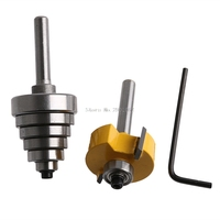 2Pcs Cemented Carbide Rabbet Router Bits 1 4 Shank With 6 Adjustable Bearing B119