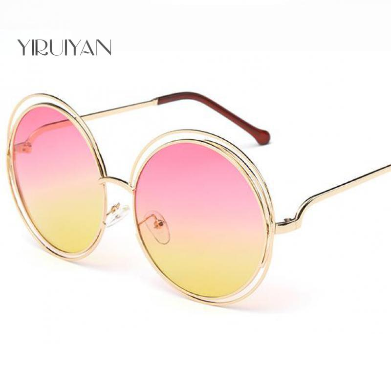 c0f4b9aa3f11 5pieces wholesale circle round frame Brand Designer sunglasses bicyclic  female fashion personality Oculos sun Glasses for Women-in Sunglasses from  Women s ...