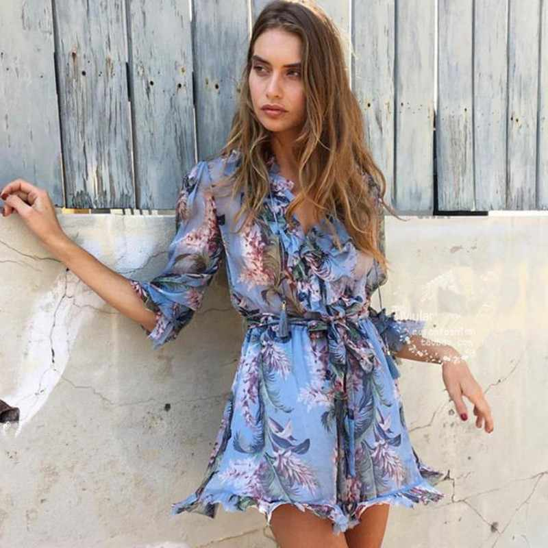 2019 Runway Self Portrait Women Rompers Fashion Blue Print Floral Long Sleeve Silk Sexy Female Outfits Sashes Beach Jumpusits