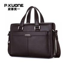 P. KUONE Asli Kulit pria tas fashion tas messenger Bisnis berkualitas tinggi kasual maleta kulit merek mewah tas laptop