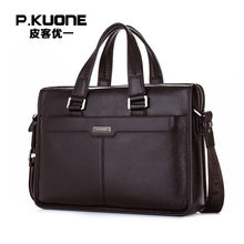 P. KUONE Lederen Man Mode Aktetas Hoge Kwaliteit Business Schoudertas Casual Travel Handtas Luxe Merk Laptoptas(China)