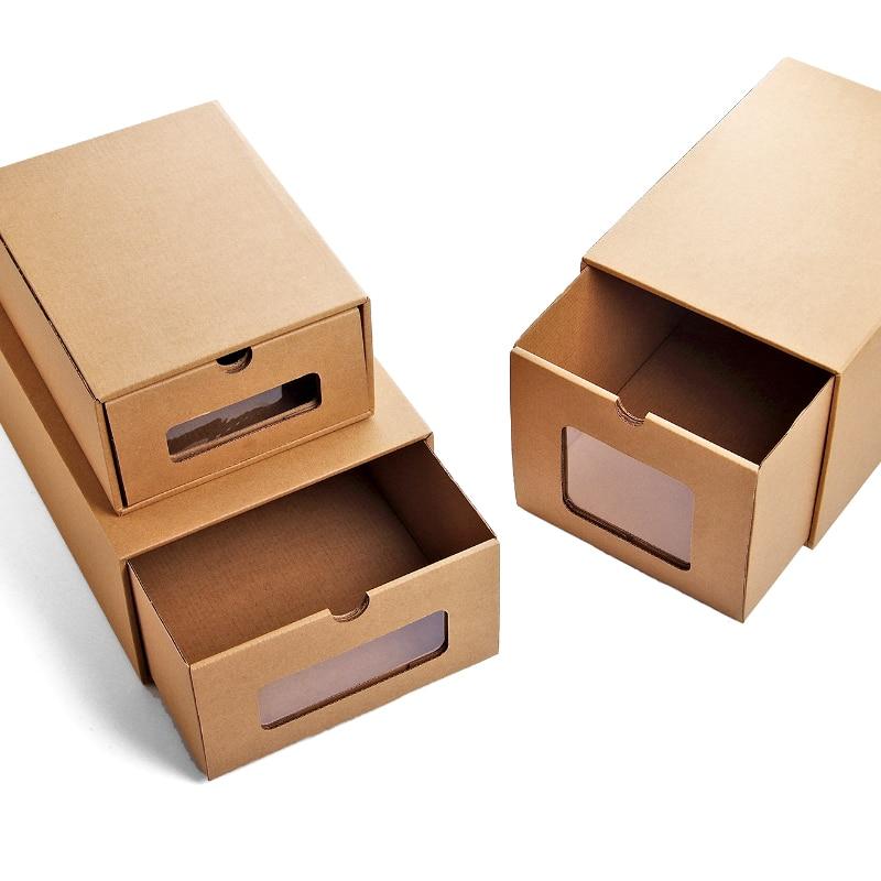 Aliexpress.com : Buy 3pcs DIY Kraft Paper Shoes Storage Box With  Transparent Window Environmentally Folding Drawer Type Finishing Box Shoe  Organizer From ...