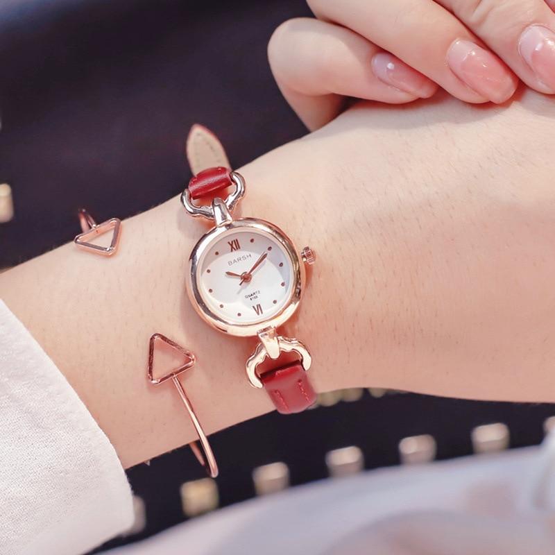 Luxury Women's Fashion Dress Watch Small Brown Vintage Leather Bracelet Watches Women Quartz Wristwatches Female Clock