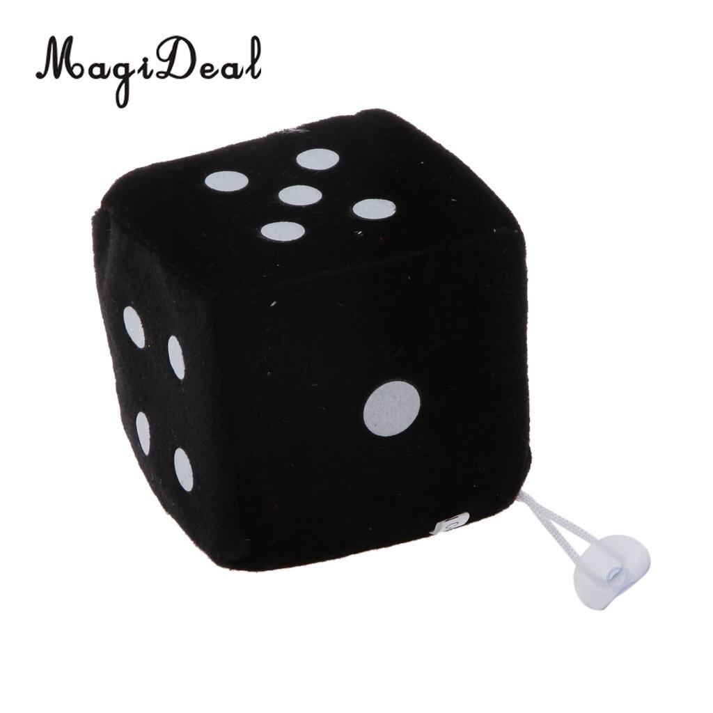4 дюйма Мягкие плюшевые игрушки для игры в кости куб окна автомобиля зеркало вешалка липкая Декор День рождения подарки Сувенирные игрушки подарок 10x10x10 - Цвет: Black