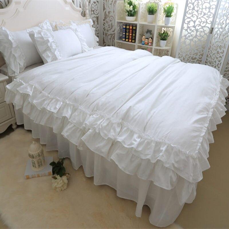 Полный белый комплект постельных принадлежностей двухслойные рюшами Постельное белье Bedskirt стиль принцесса постельное белье Краткая теплы