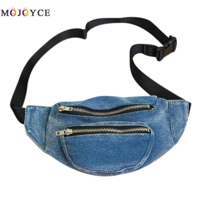 Для женщин джинсовая сумка талии Повседневное регулируемый ремень модная одежда для девочек поясная сумка молнии карманы пояс Сумка Pochete Heuptas