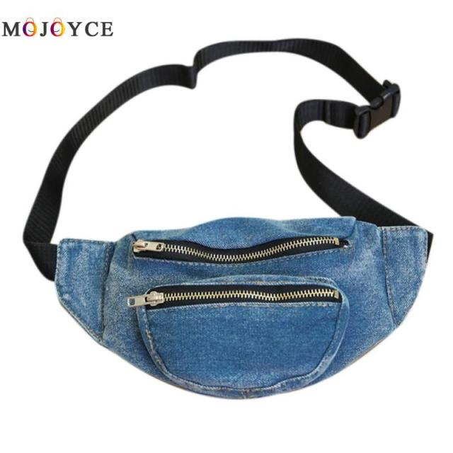 Women Denim Waist Bag Adjustable Strap Girls Fashion Lady Zipper Pockets Fanny Pack Pochete Heuptas