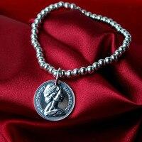925 sterling silver jewelry lady silversmith old hand String Bracelet Bracelet Silver Coin