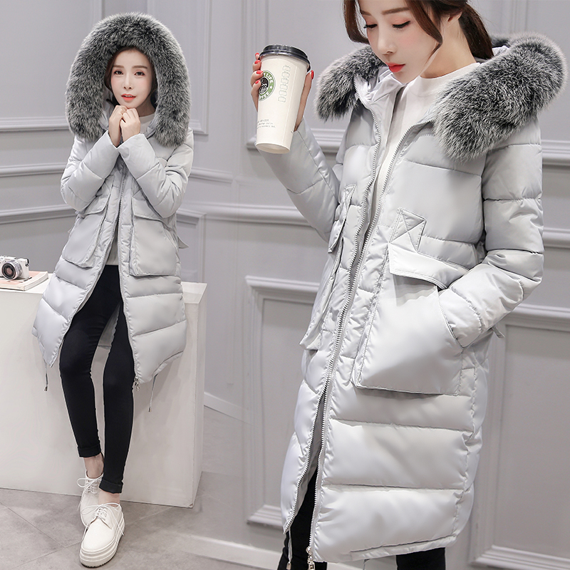 The new style for the pregnant cotton clothing winter fashion Slim long hair collar long cotton wool thickening warm jacket sky blue cloud removable hat in the long section of cotton clothing 2017 winter new woman