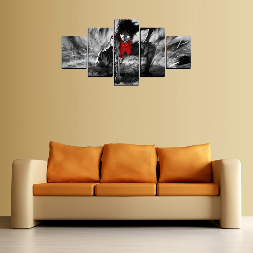 5 Panels Red Clothes Boy Canvas Prints for Living Room Wall Art ...