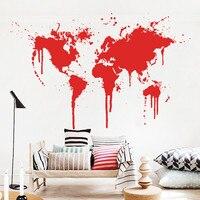 아트 장식 새로운 디자인 스프레이 페인트 세계지도 벽 데 칼 xl 크리 에이 티브 벽 스티커 비닐 저렴 한 이동식 홈 장식 벽 종이