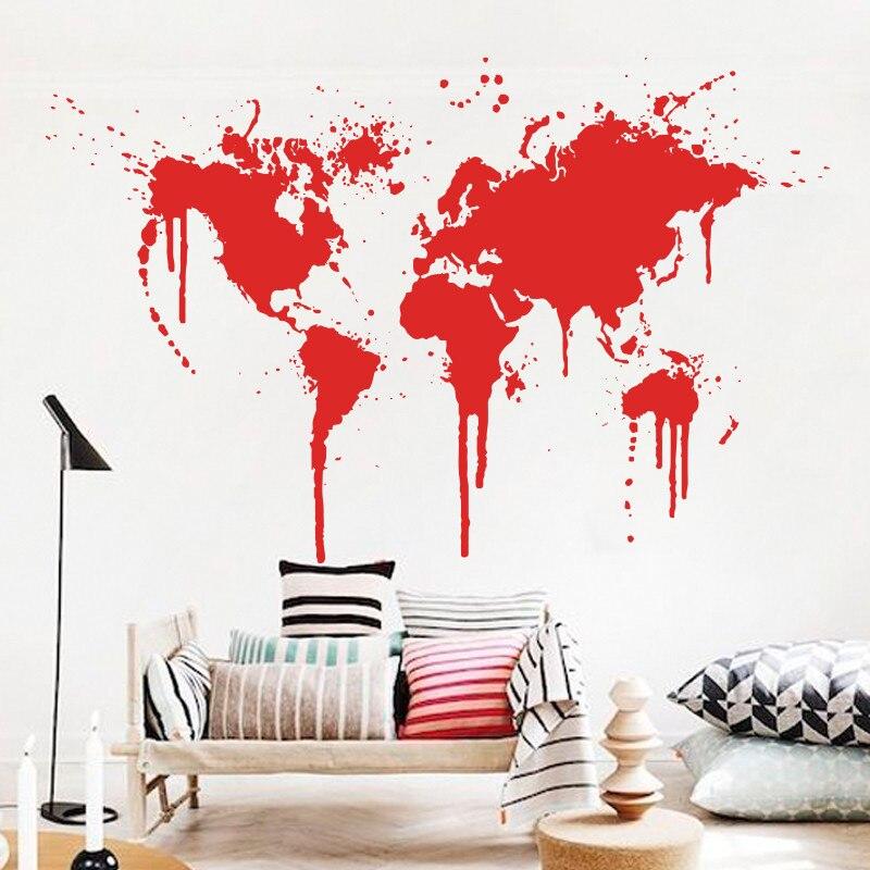 Art decor nouveau Design peinture en aérosol carte du monde sticker mural XL sticker mural créatif vinyle pas cher amovible décor à la maison papiers muraux