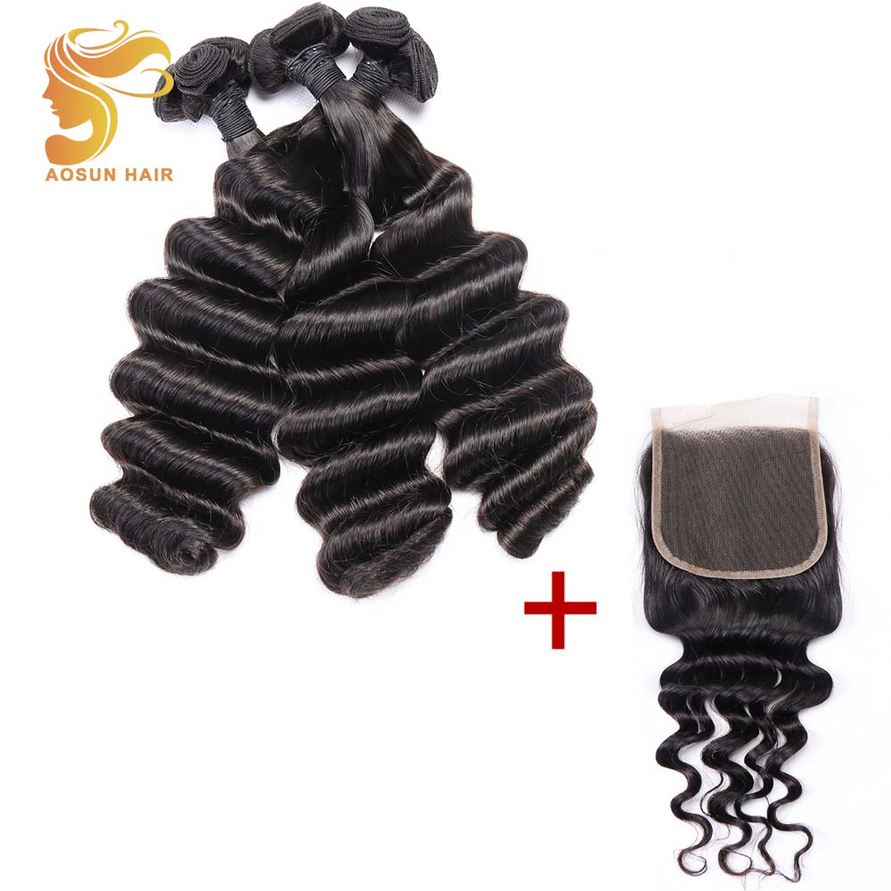 AOSUN волос бразильский волосы remy ткань Fumi глубокая волна Связки 100% человеческие волосы трессы 4 шт. человеческие волосы Связки с синтетическо