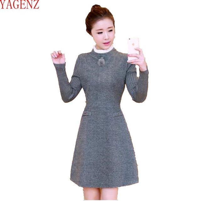 timeless design 0b043 3fe49 US $30.58 48% di SCONTO Giovane donna Autunno e inverno i vestiti versione  Coreana di Grandi dimensioni vestito di Lana A maniche Lunghe Temperamento  ...