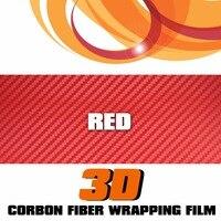 50 X3 15 3pcs 13pcsRed 3D Carbon Fiber Car Truck Bike Wrap Film Vinyl Sticker Decal