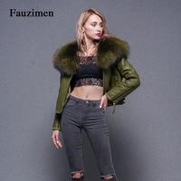 Зимняя стильная кожаная куртка женские пальто и куртки тонкий негабаритный роскошный пушистый енот меховой воротник ветровка пальто