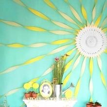 5pcs/set (White cut-out Paper Fan,Yellow Crepe Paper)Creative DIY Decoration Set for Birthday Showers Nursary Wall Decor