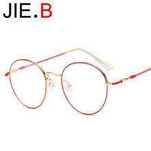 New vintage round frame glasses male and female myopia flat