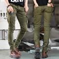 Green Black Denim Biker jeans Mens Skinny 2016 Runway Distressed slim elastic jeans hip hop Washed