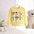 Moda Bebê Menina Camisolas Primavera Outono meninas camisola 6 Personagem de banda desenhada manga longa crianças roupas de cor amarela