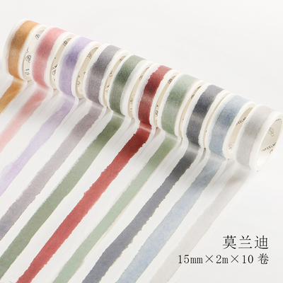 10 Rolls/set Vintage Pale Color Morandi Pen Drawing Swatch Index Washi Tape DIY Planner Diary Scrapbooking Masking Tape Escolar