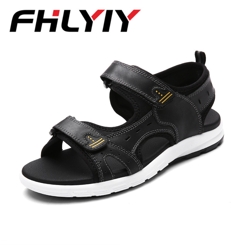 Unisex Sandals 2018 New Summer Men Sandals Peep-Toe Breathable Leisure Beach Shoes, Leather Sandals Han Edition Sapato Masculino