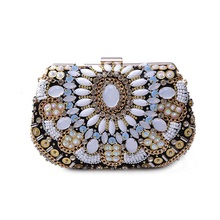 8635 Black Beaded Embroidery Lady fashion Wedding Bridal Party Night clutch bag Evening purse handbag box case IN FREE SHIPPING