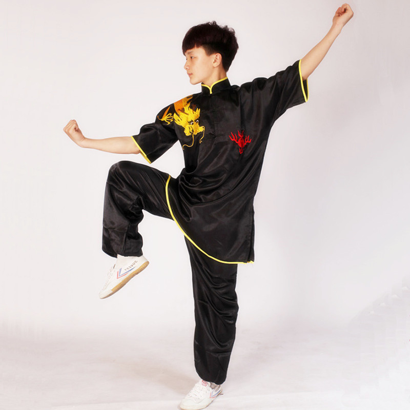 USHINE Black Red Blue Chinese Multi Color Embroidery Arm Dragon Short Sleeve KungFu Martial Arts Costume TaiChi Suit For Summer