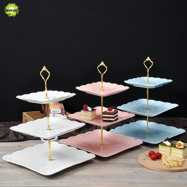 Pawaca New 1 Sets 2 or 3 Tier Cake Plate Stand Handle Crown Fitting Metal Wedding & Pawaca New 1 Sets 2 or 3 Tier Cake Plate Stand Handle Crown Fitting ...