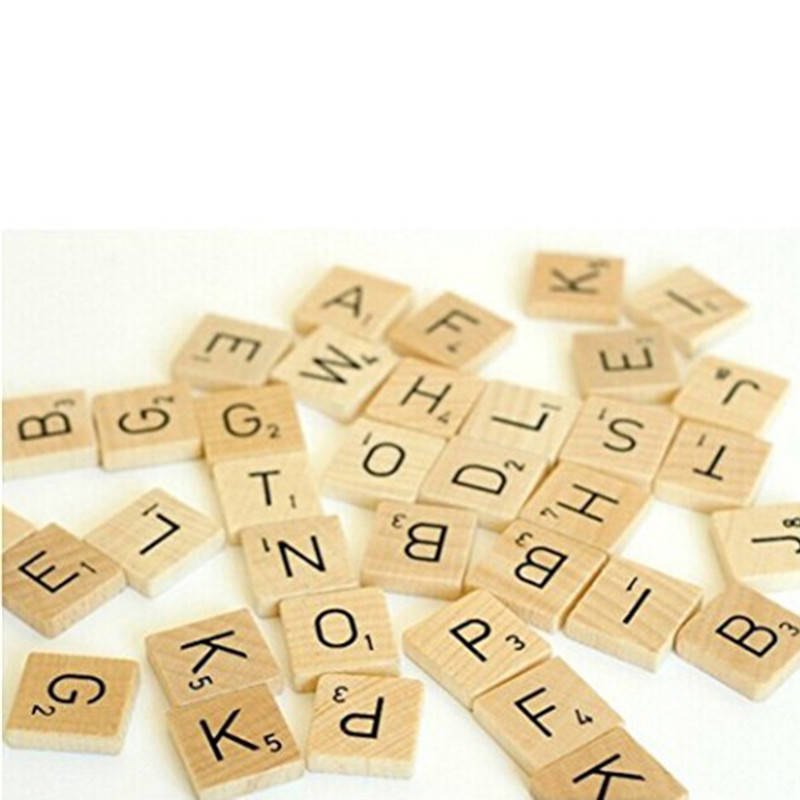 Numbers Letters Crafts Alphabet Tiles Words Wooden Scrabble English Black for 100pcs/Set
