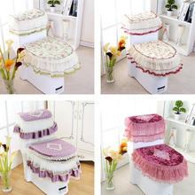 Фотография Good quality Lace 3 piece Set Toilet Seat Cover U-shaped Overcoat Home Decor Bathroom Toilet Mats closestool merletto 4 colors
