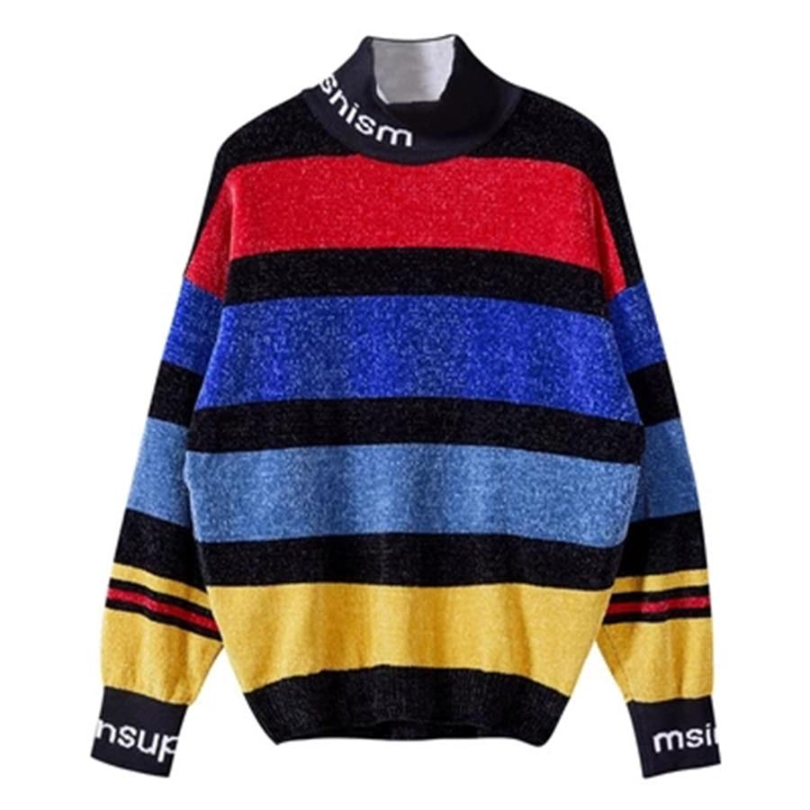 Coréen pull à col roulé hommes pull Streetwear Modis tricot noël homme chandail décontracté rayure Harajuku Sueter Hombre arc-en-ciel