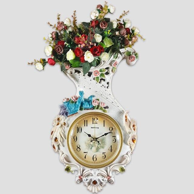 Handwerk Kunst Dekoration Uhr Der Pfau Garten Europäischen Stil Wohnzimmer  Wanduhr Uhr Dekoration Wanduhr Mute Larg