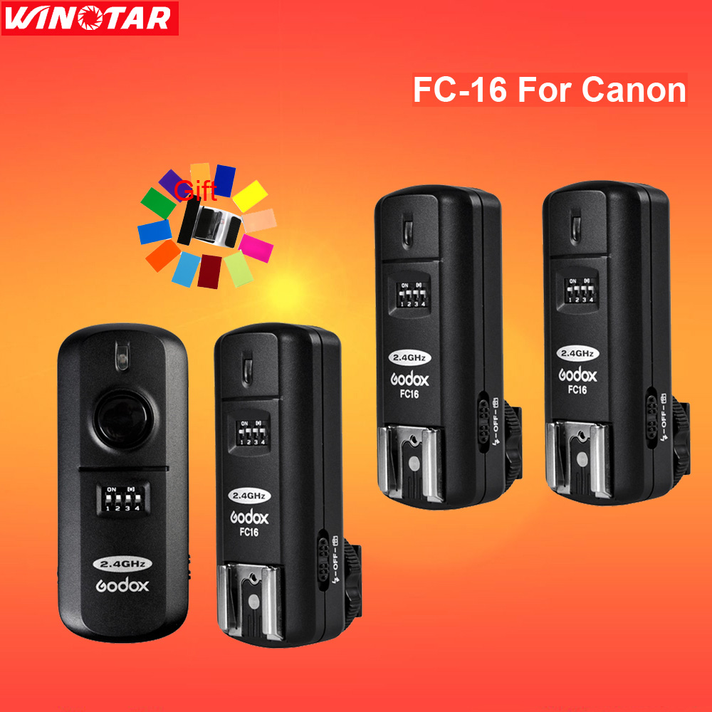 Godox FC-16 16 Channels 2.4G Wireless Remote Flash Trigger Studio Strobe  With 3 Receiver for Canon DSLR for Pentax cs-205
