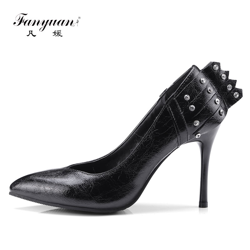 Fanyuan 10 cm Heeled Shoes Woman Rhinestone Women Pumps High Heels Sexy Pointed Toe Gold Thin Heels Ladies Shoes sapato feminino туфли на высоком каблуке mid high heels shoes 2015 heles sapato feminino ladies mid high pumps