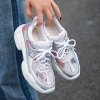 woman vulcanized shoes fashion platform sneakers women casual genuine leather Flats Women's Chunky Sneakers walking shoes