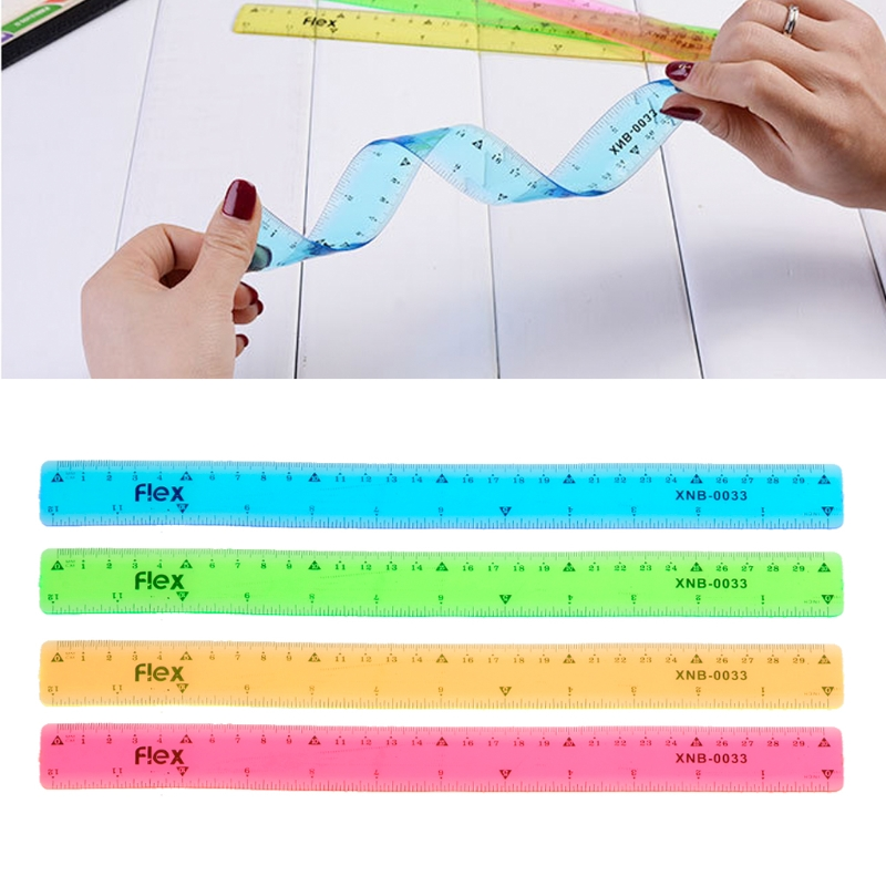 4pc Soft 30cm Ruler Multicolour Flexible Creative Stationery Rule School Supply