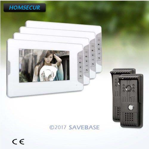 HOMSECUR 2V4 IP54 TFT LCD 7inch Video Door Entry Security Intercom With User-friendly Design of Mute Mode for House/ Flat